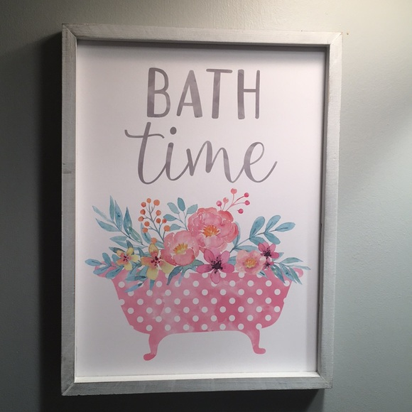 Other | Floral Pink Gray Bathroom Wall Decor | Poshmark